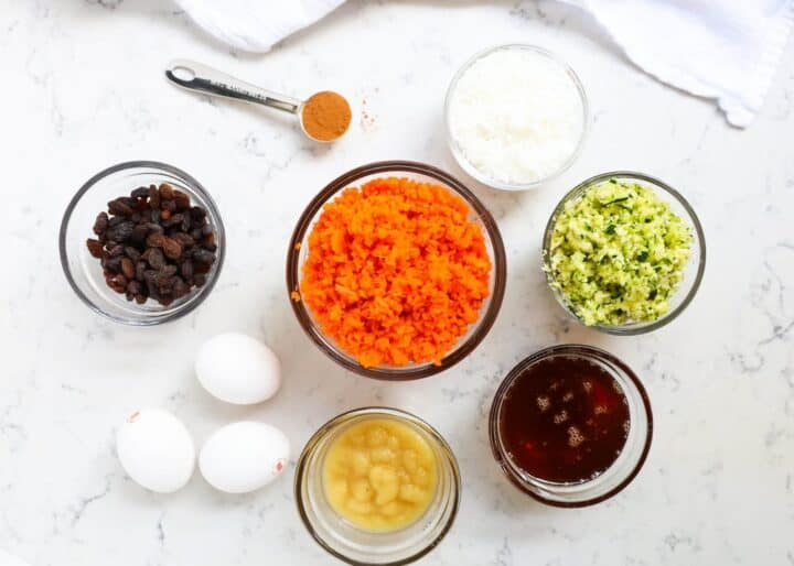 ingredients for morning glory muffins on counter