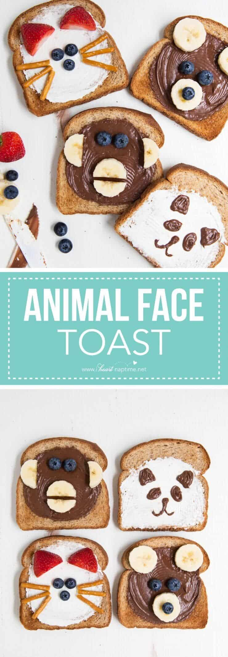 Animal face toast -a quick, fun and delicious after school snack idea for kids.