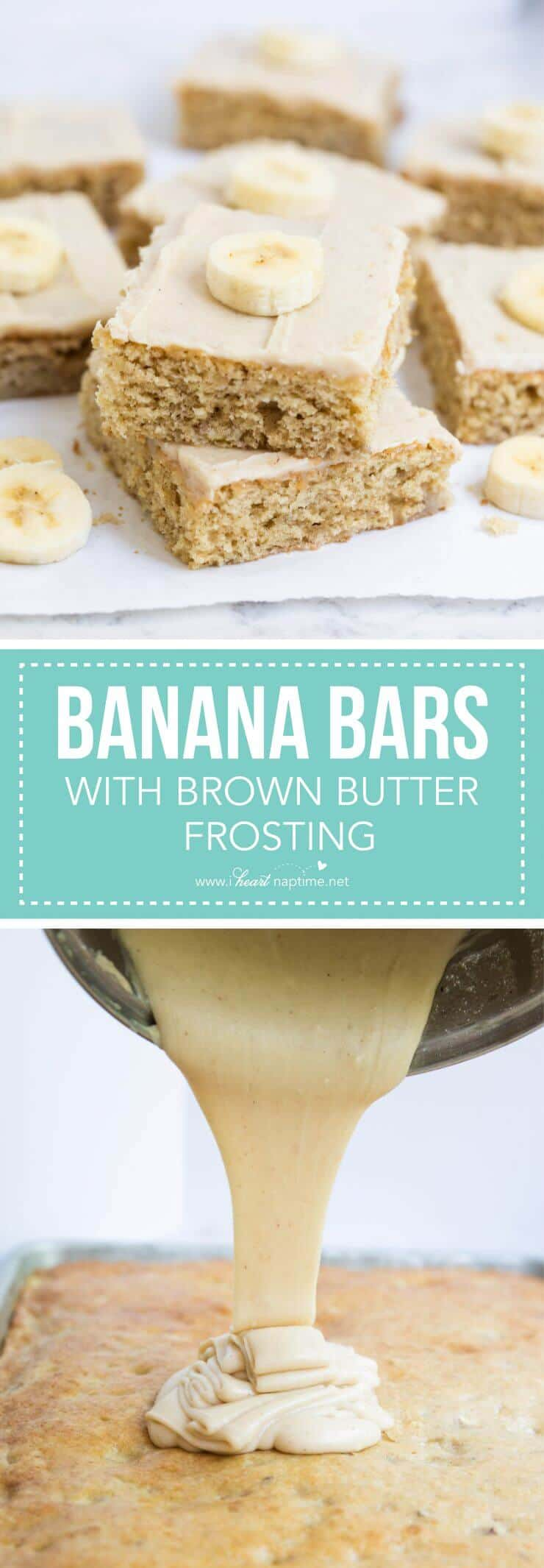 Banana bars with brown butter frosting -the best way to use ripe bananas! These bars are super soft and are always a hit at potlucks. They never last long!