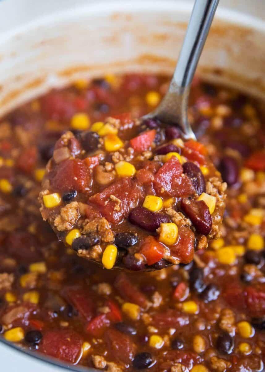 ladle of turkey chili