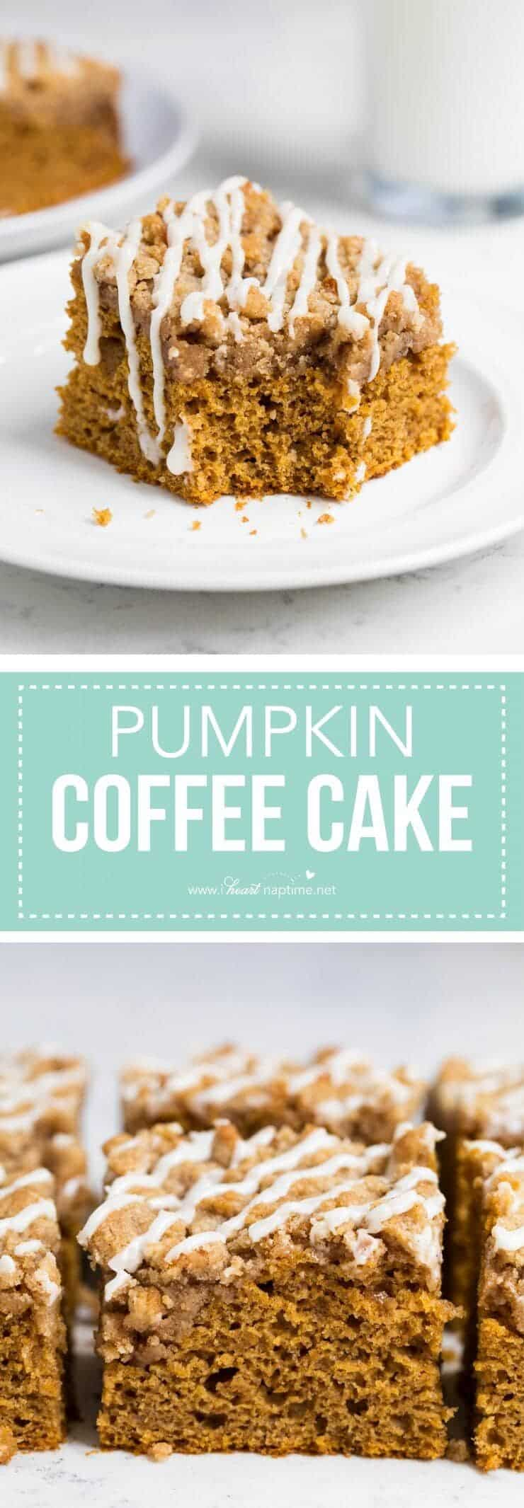 Pumpkin streusel coffee cake -a pumpkin spiced cake topped with a delicious brown sugar streusel and maple glaze.