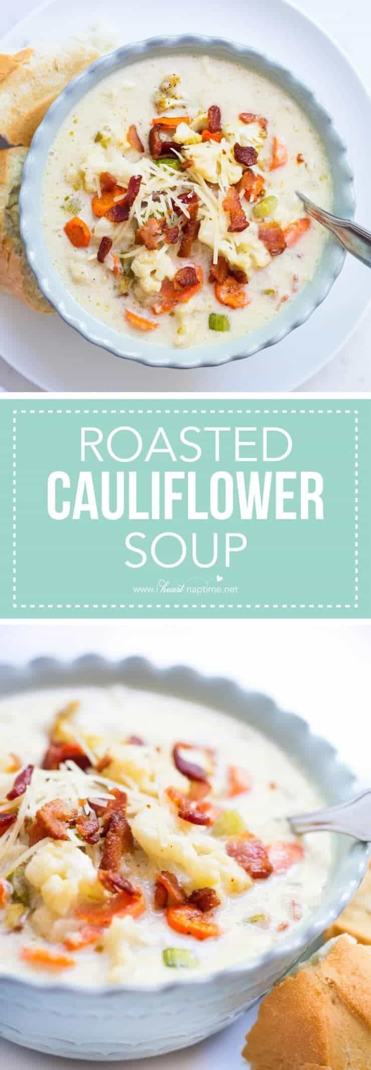 Roasted cauliflower soup recipe-a creamy soup filled with juicy roasted vegetables and crisp bacon.
