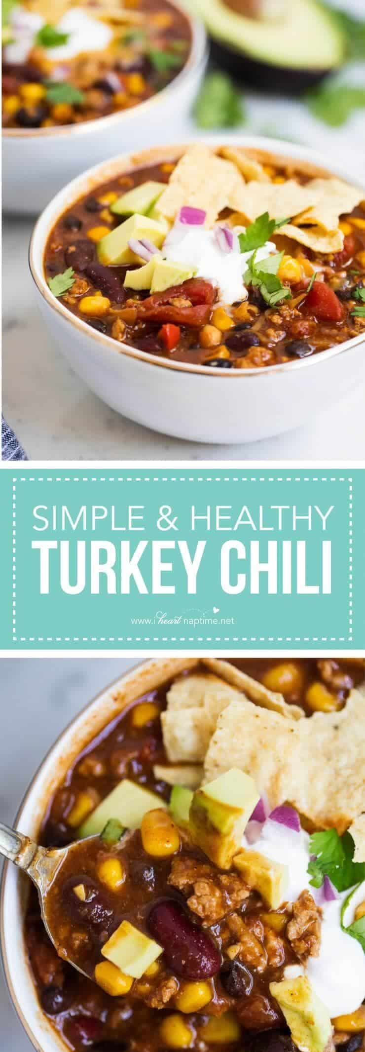 Healthy turkey chili -this easy recipe is hearty and delicious with plenty of flavor! Can easily be made in the slow cooker as well.