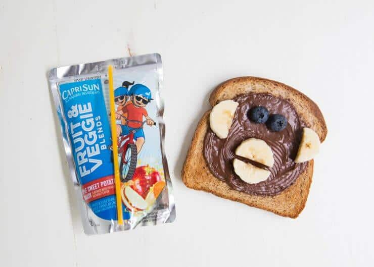Animal face toast + Capri Sun -a quick, fun and delicious after school snack idea for kids.