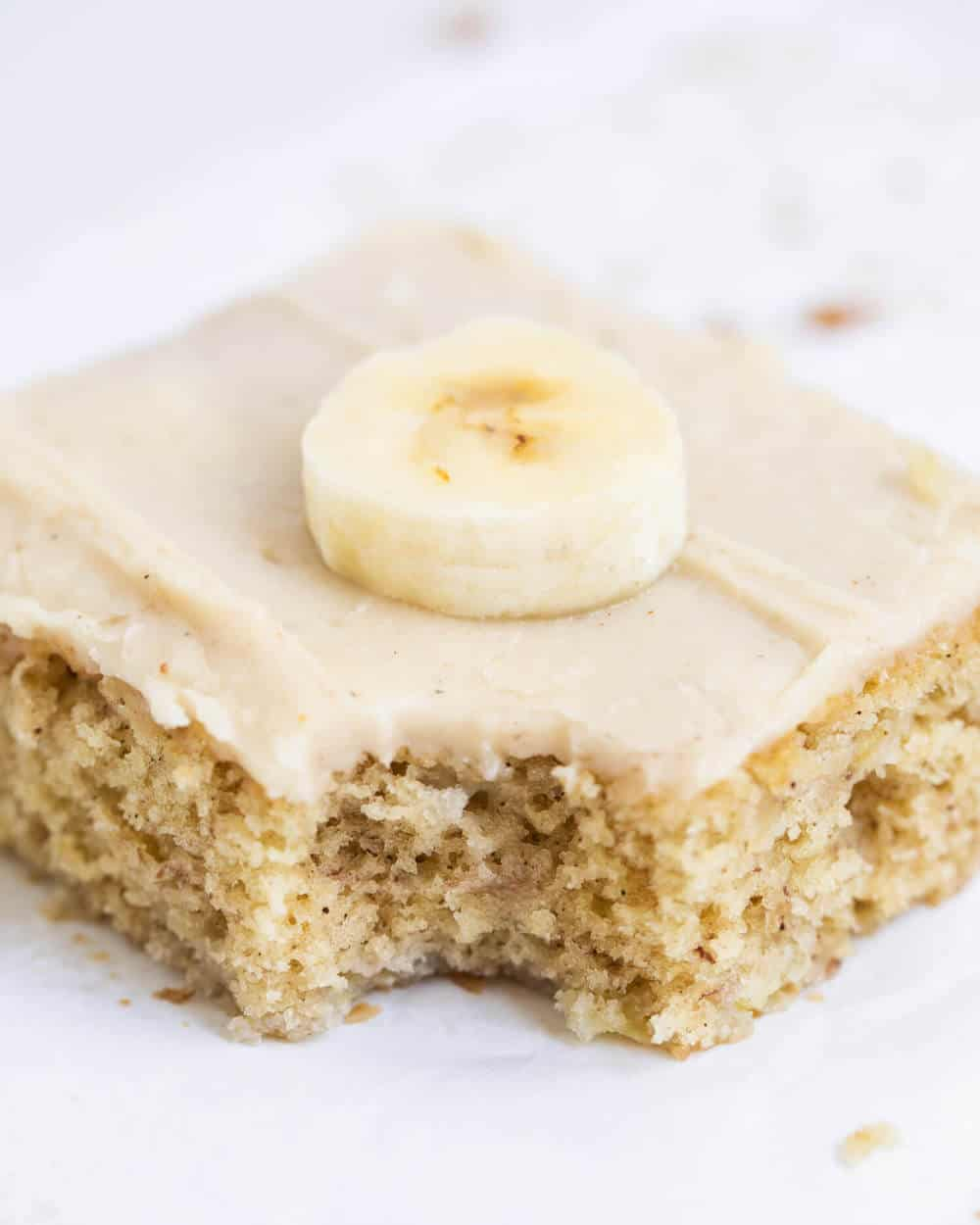 frosted banana bar with a bite taken out