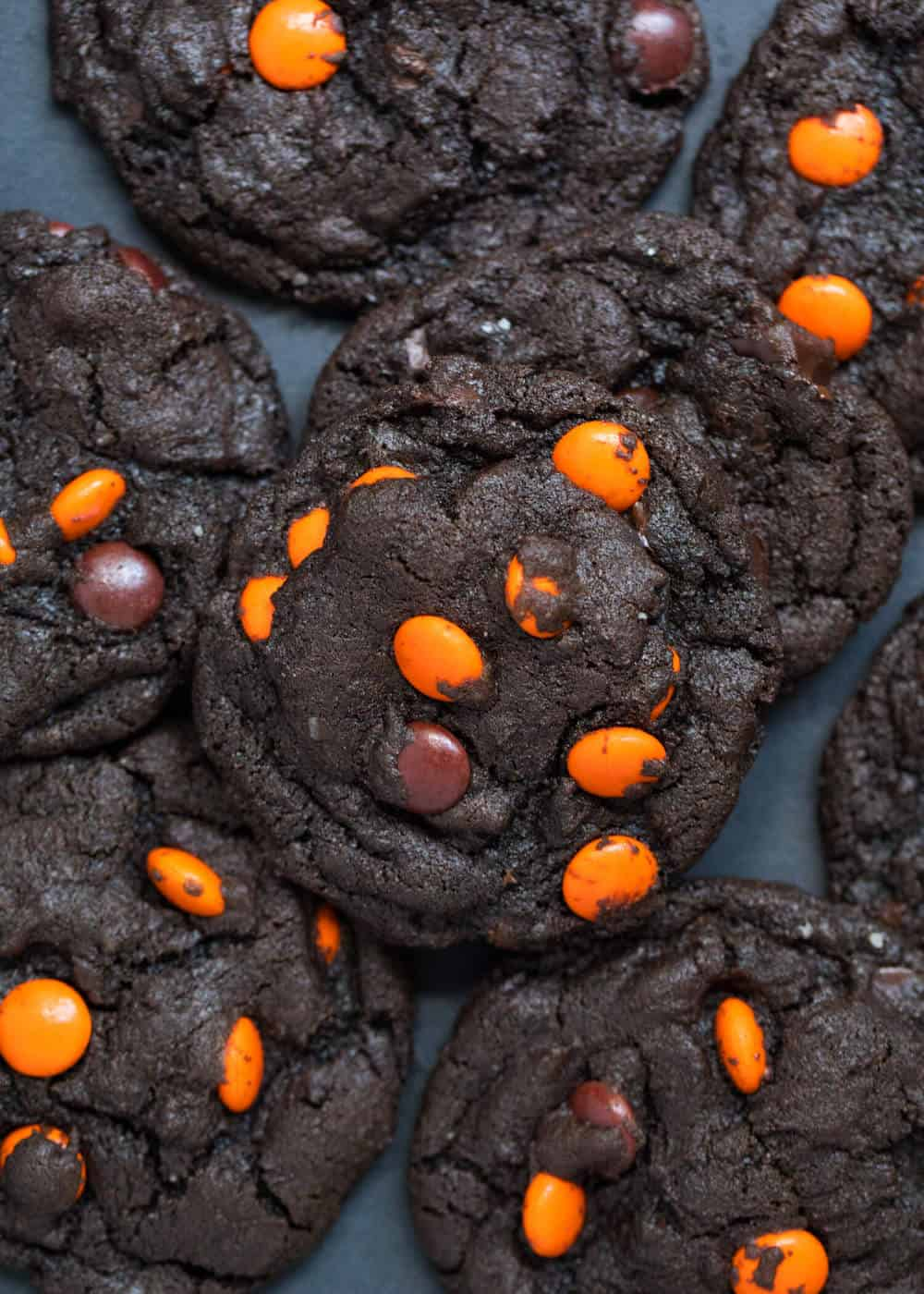 chocolate cookies with orange chocolate candies