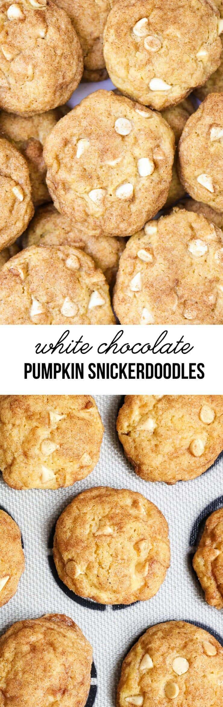 Pumpkin snickerdoodles with white chocolate chips -super soft and filled with all the best fall flavors!