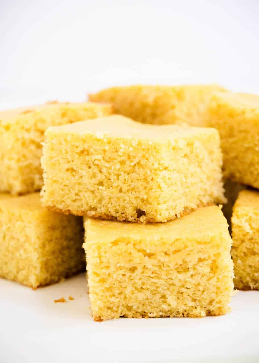 stack of sliced cornbread