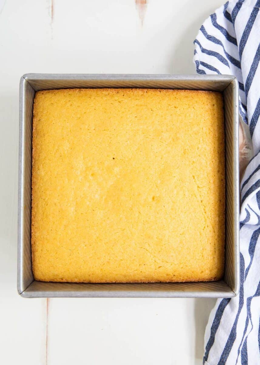 homemade cornbread in a square baking dish