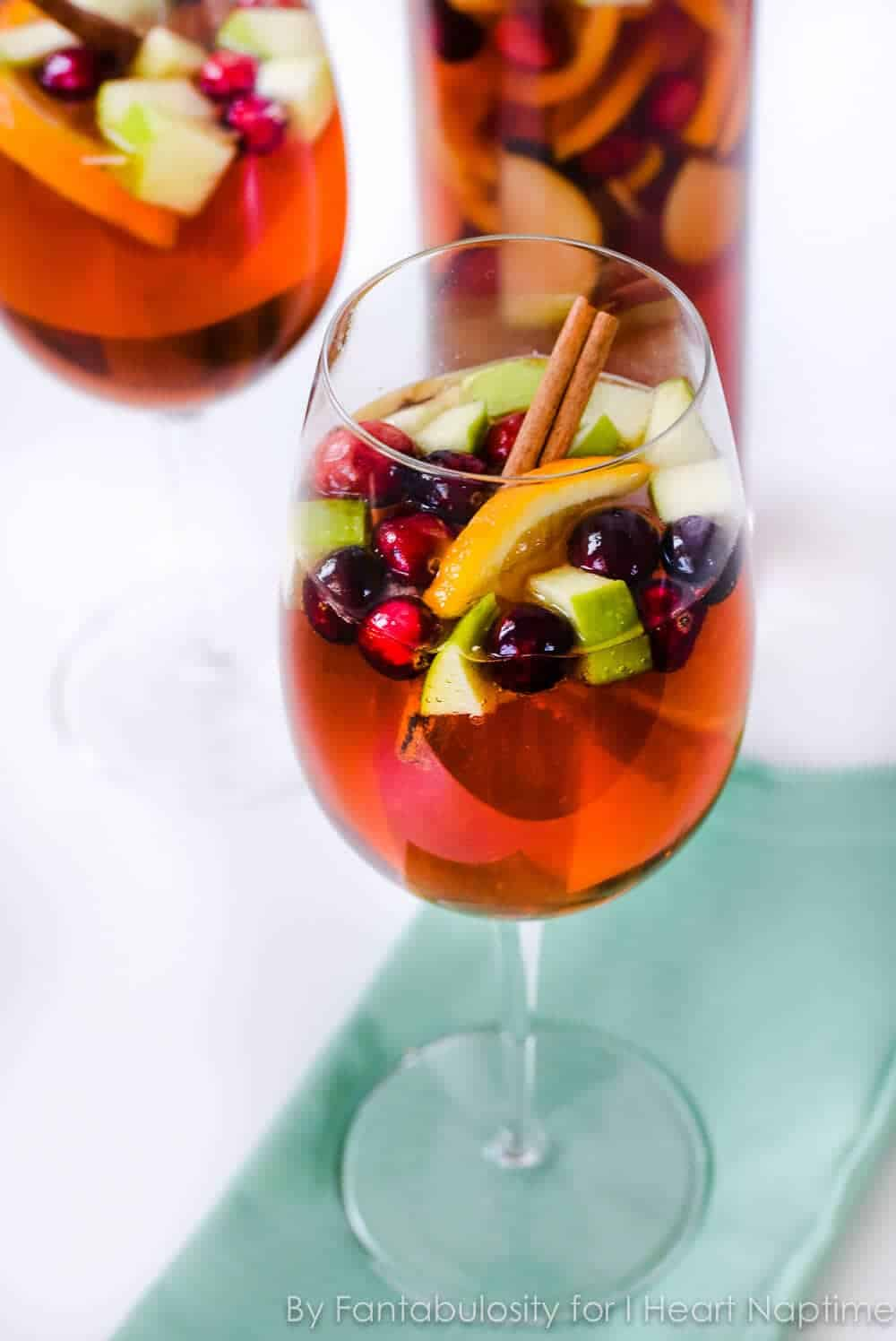 wine glass filled with holiday sangria