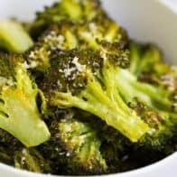 bowl of parmesan roasted broccoli
