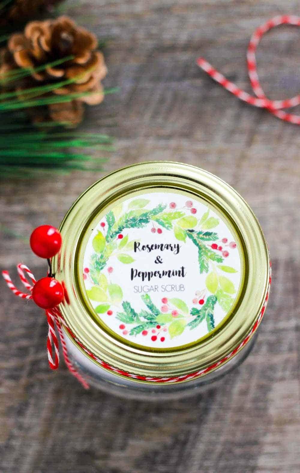 jar of rosemary peppermint sugar scrub with a label