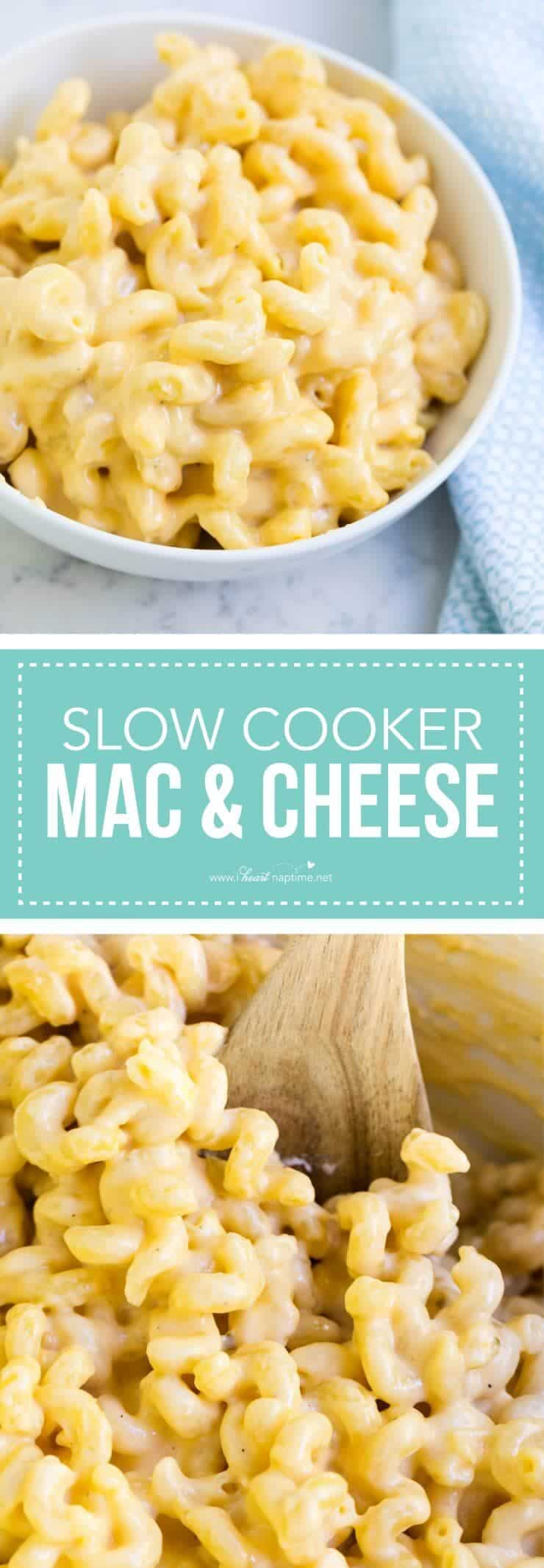 Creamy slow cooker mac and cheese -only takes 10 minutes to prep and made with only a few simple ingredients! Pure comfort in a bowl.