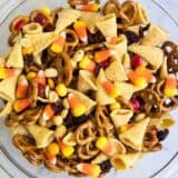 thanksgiving blessing mix in a glass bowl