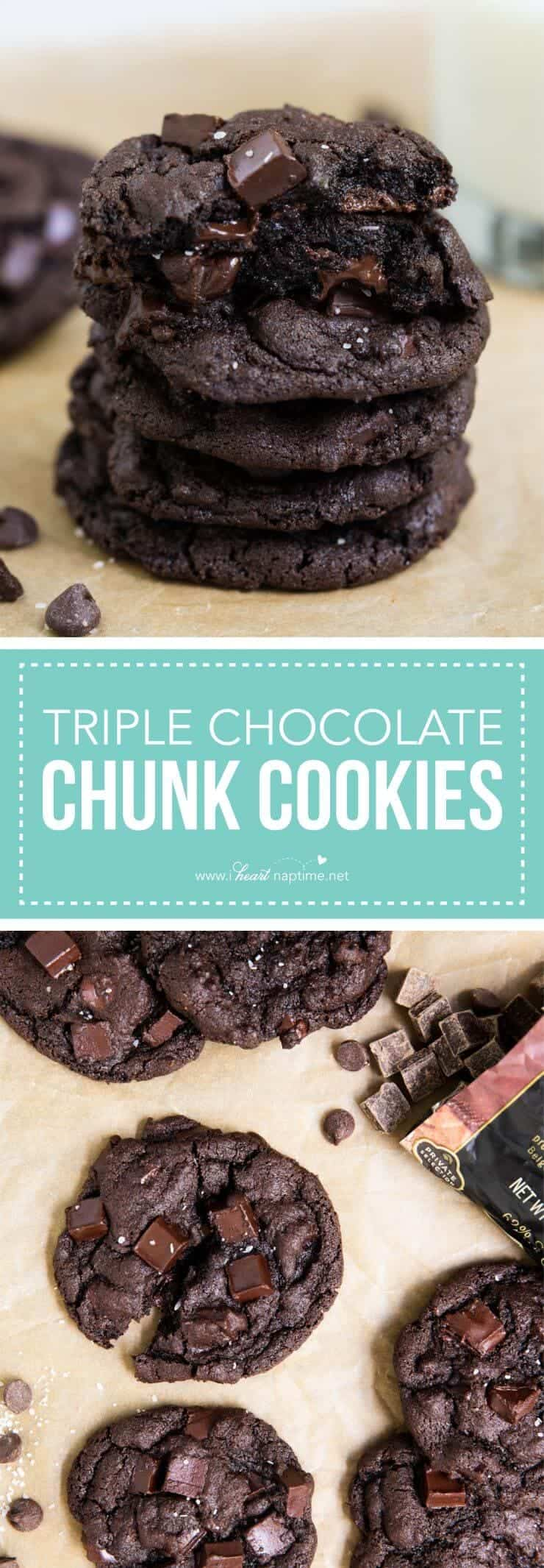 Soft and chewy triple chocolate chip cookies. Made with semi-sweet chips, chocolate chunks and cocoa powder. A chocolate lovers dream cookie!