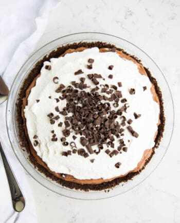 chocolate silk pie in a pie pan