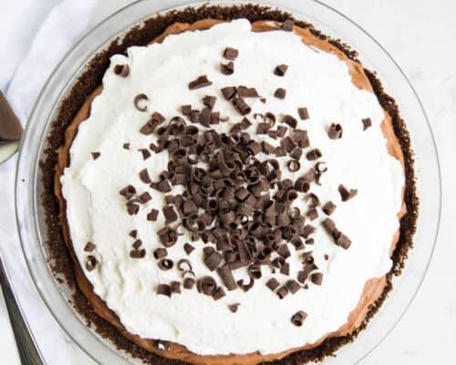 chocolate silk pie in a pie pan