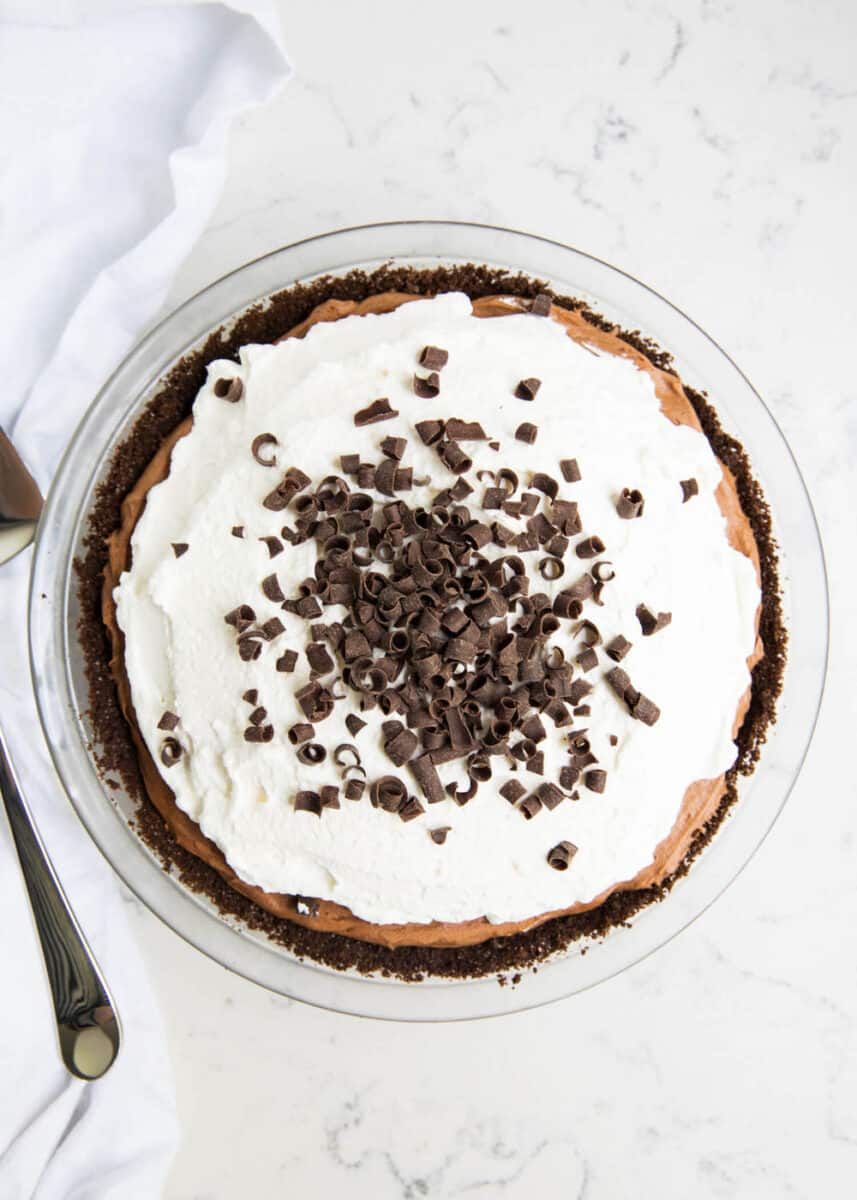 French silk pie in pan