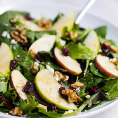 bowl of apple cranberry spinach salad