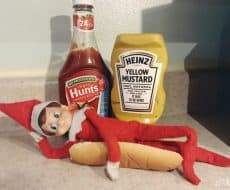 Elf is a Hot Dog + 25 Ingenious Elf on the Shelf Ideas - These clever and original ideas are sure to make the Christmas season a blast in your home! There is nothing as precious as seeing your child's excitement every morning after discovering the Elf on the Shelf's latest antics.