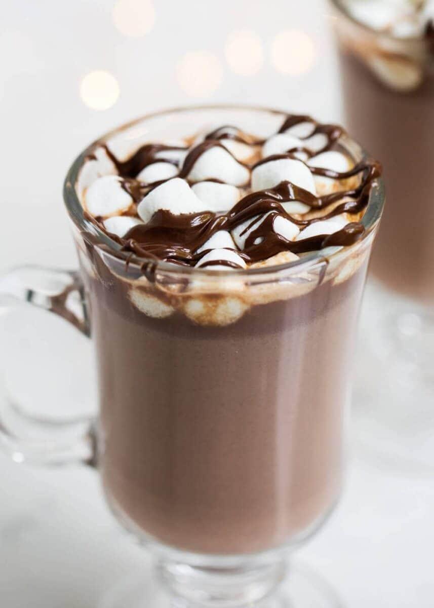 hot cocoa in glass mug