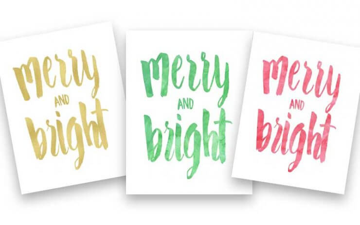 Free Christmas Printables -gold, green and red prints to dress up your home this holiday season!