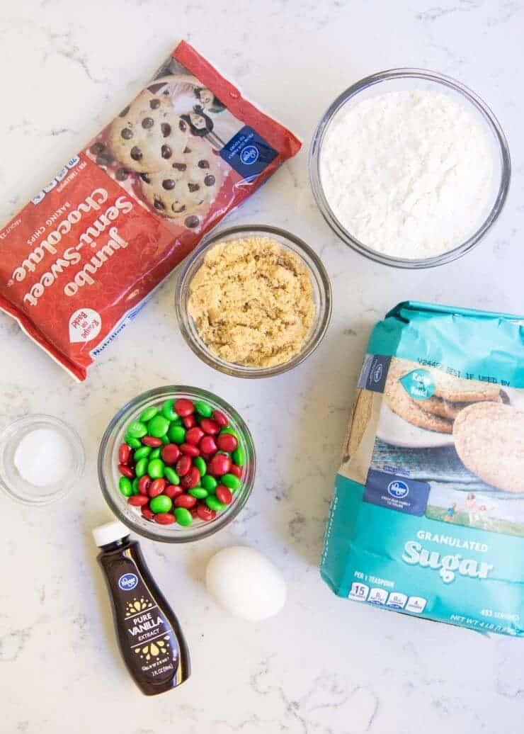 Ingredients for mason jar cookie mix