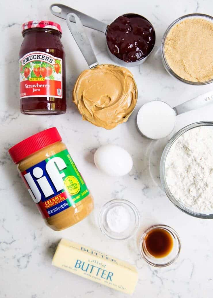 Ingredients for peanut butter and jelly cookies