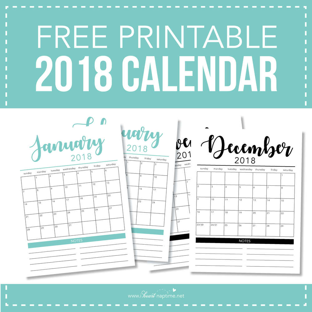 2018 Free Printable Calendar I Heart Nap Time
