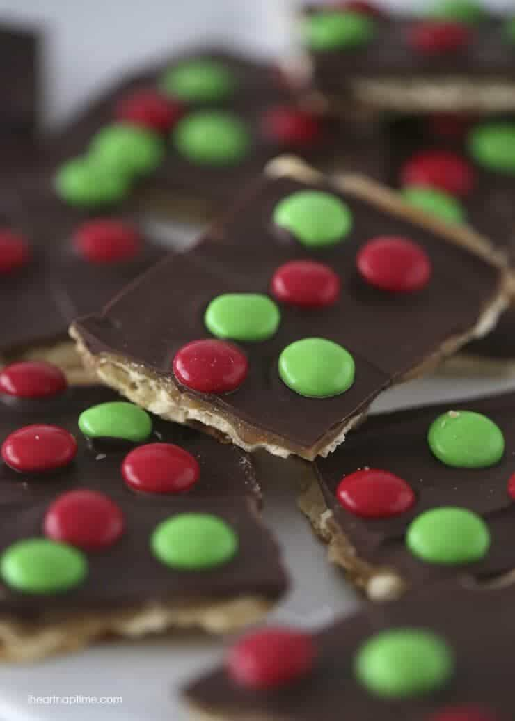 close up of M&M christmas crack toffee
