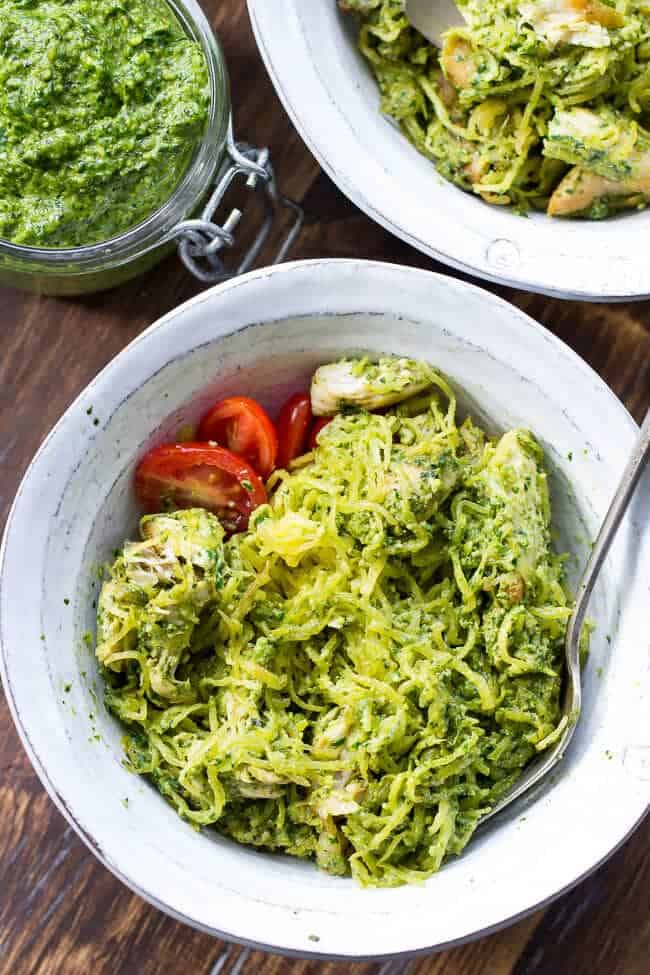 pesto chicken spaghetti squash in a bowl