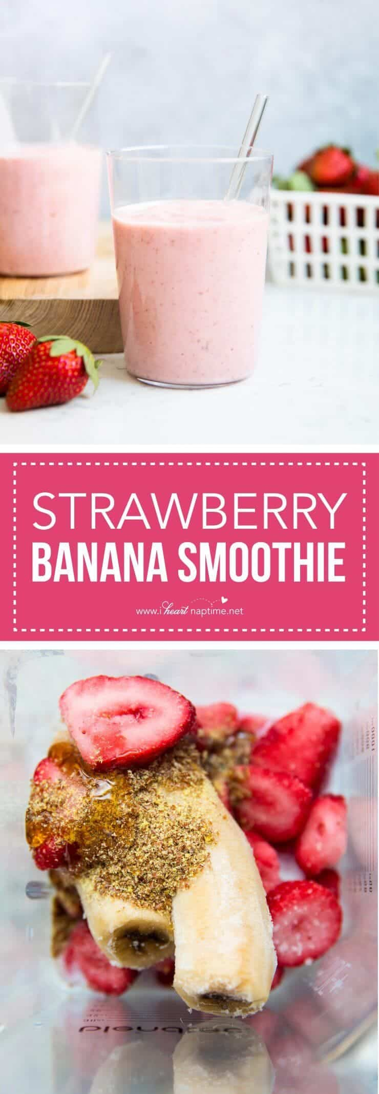 This simple strawberry banana smoothie recipe is the perfect way to welcome the new year! It only takes a few ingredients and 5 minutes to make. It's the perfect drink for those sweet cravings.