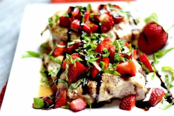strawberry basil chicken drizzled with balsamic
