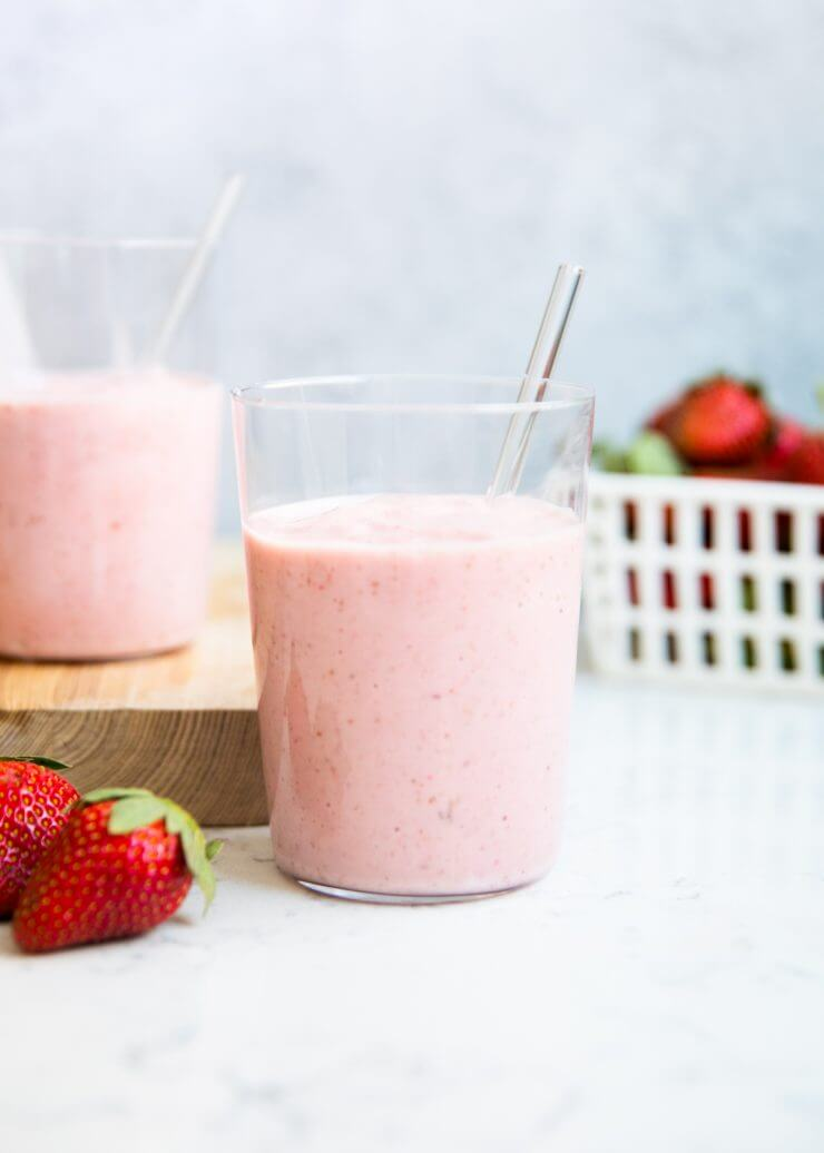 Strawberry banana smoothie- only takes a few ingredients and 5 minutes to make. It's the perfect drink for those sweet cravings!