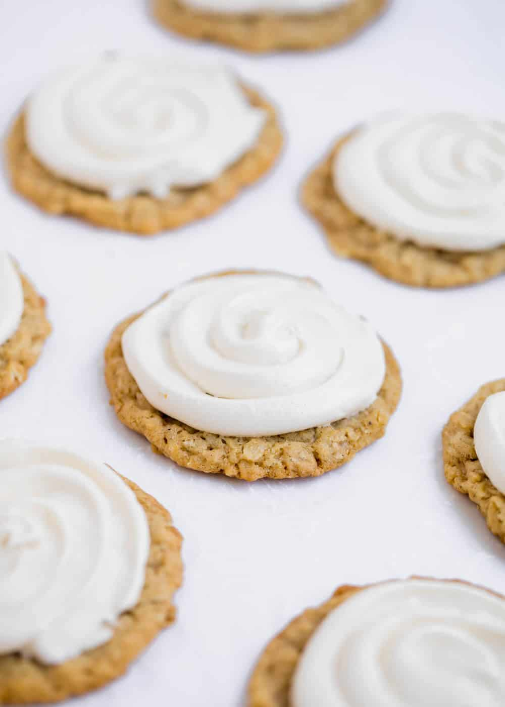 oatmeal cookies with marshmallow filling on top