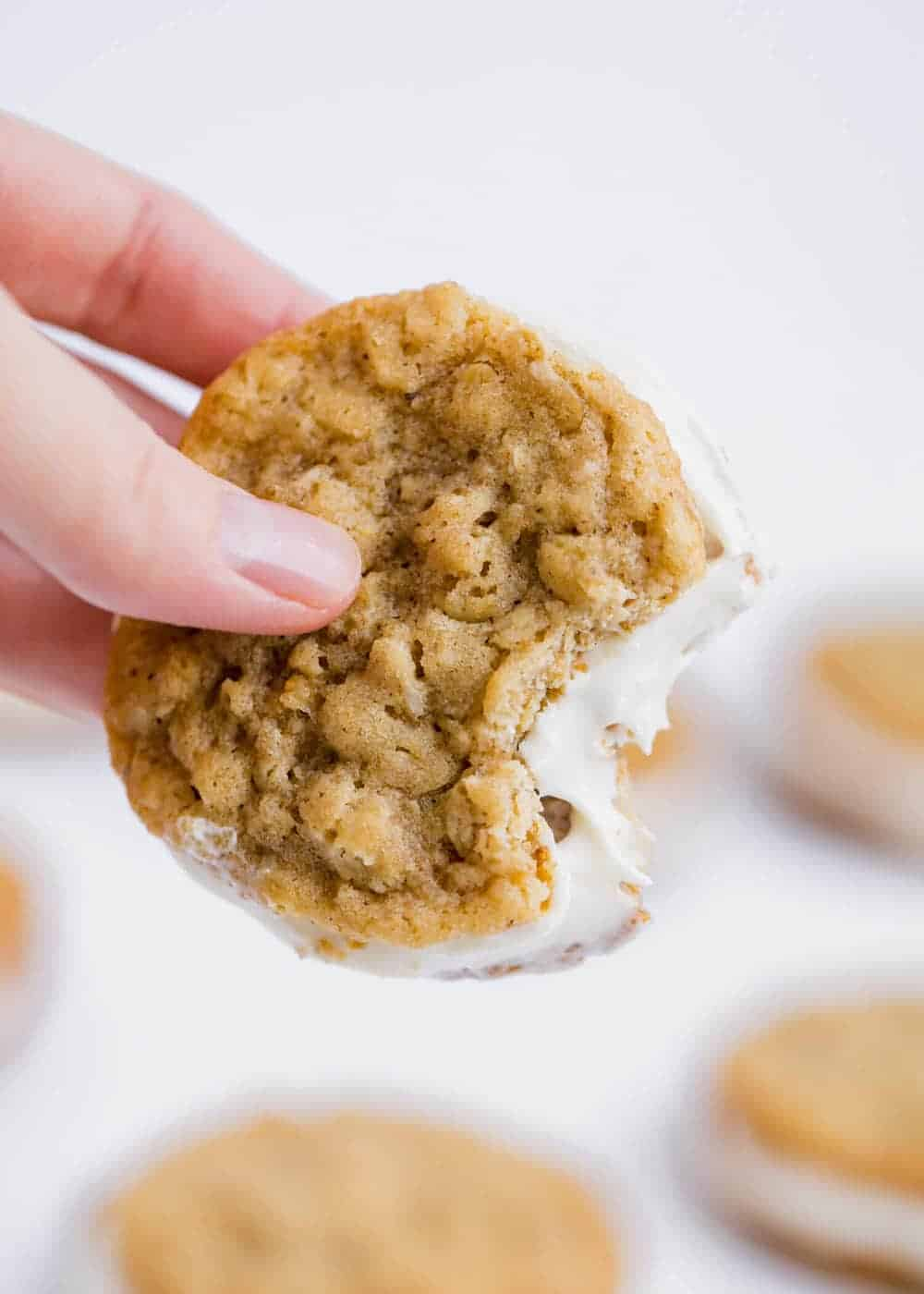 homemade oatmeal cream pie with a bite taken out