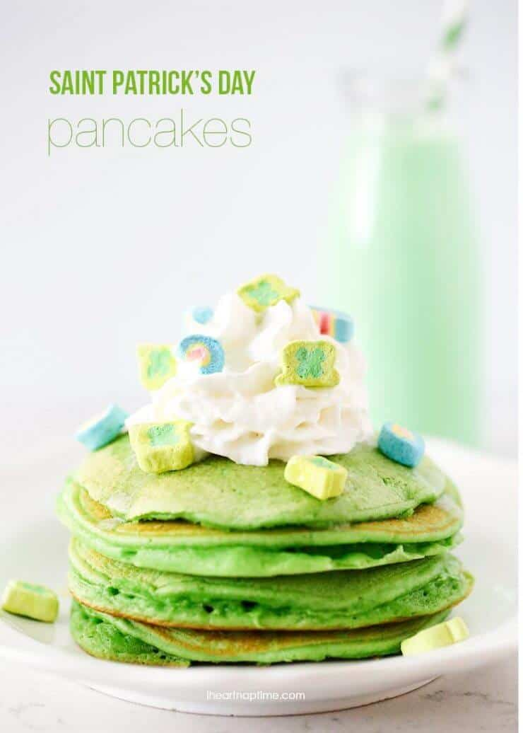 Saint Patrick's breakfast ideas - delicious green pancakes, rainbow fruit parfaits, lucky charms and green milk. Simple, GREEN and completely scrumptious.
