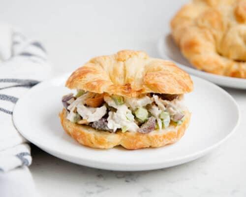 chicken salad croissant sandwich on a white plate