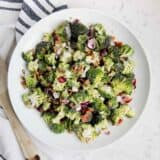 plate of broccoli salad with bacon