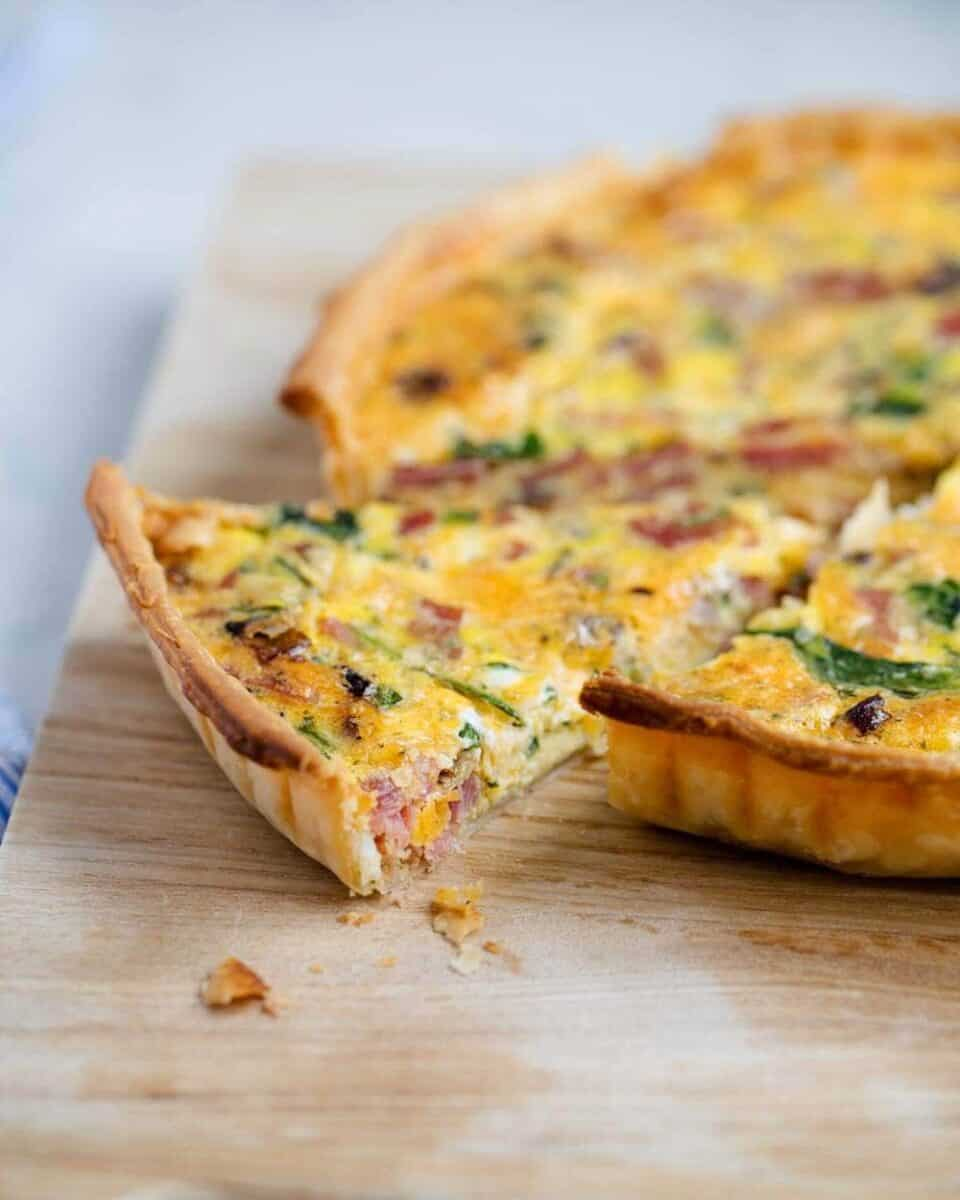 slice of ham and cheese quiche
