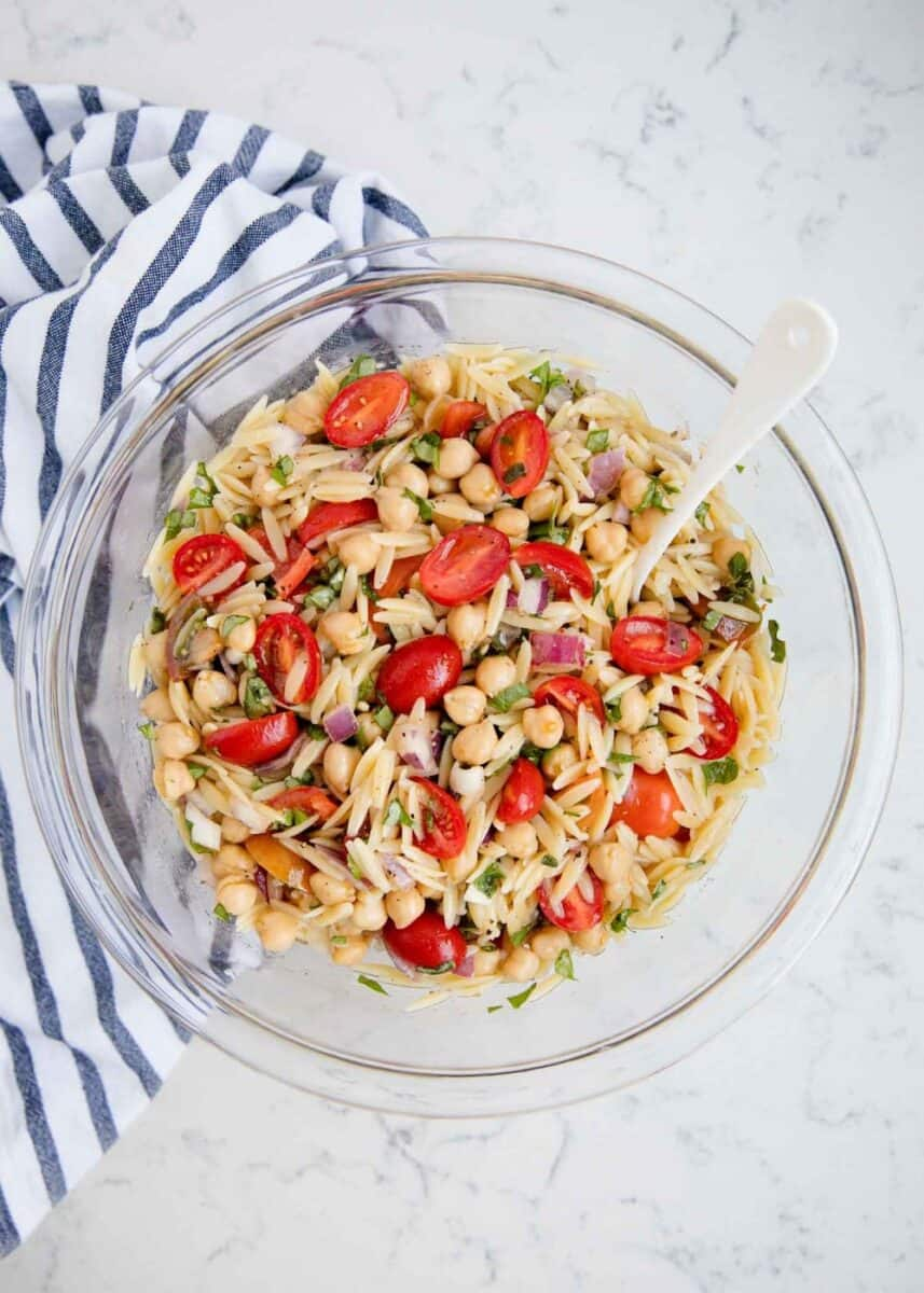 orzo pasta salad in a large bowl