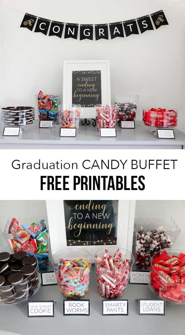 a graduation party table with bowls of candy