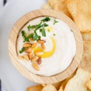 white bean hummus in a wooden bowl