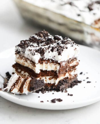 piece of oreo ice cream cake on a white plate
