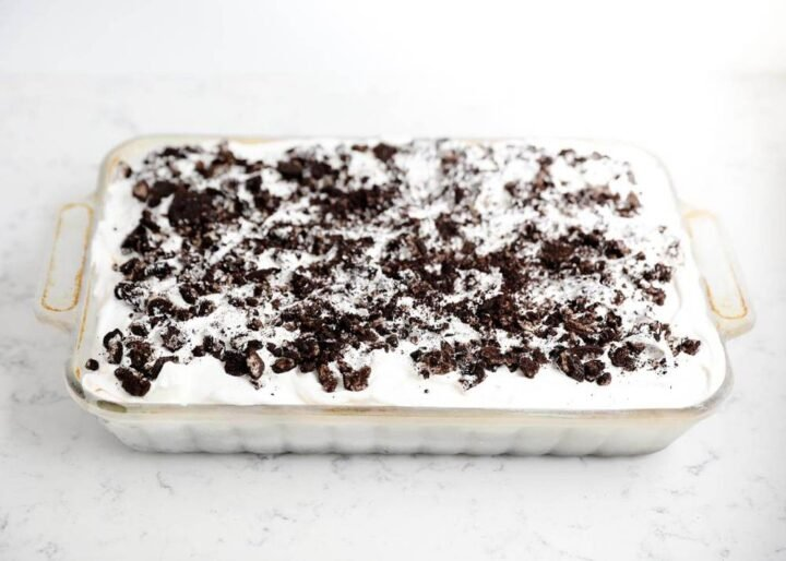 Oreo ice cream cake in a baking dish