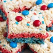 stack of red, white and blue rice krispies
