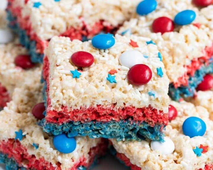 stacked red white and blue rice krispie treats