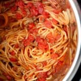A close up of spaghetti in the instant pot