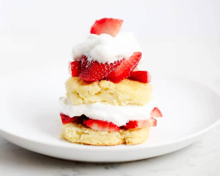 strawberry shortcake biscuit on a white plate
