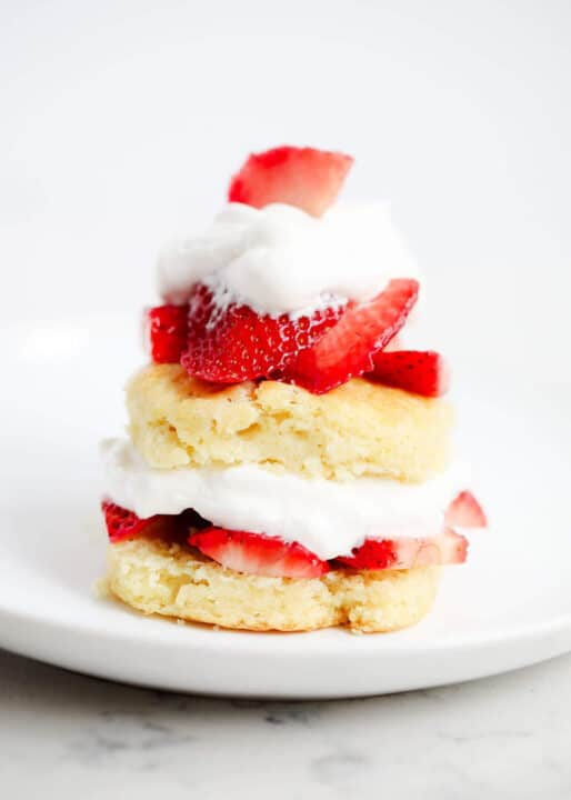 strawberry shortcake biscuit on white plate